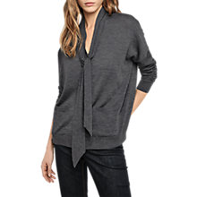 Buy Gerard Darel Tie Neck Cardigan, Dark Grey Online at johnlewis.com