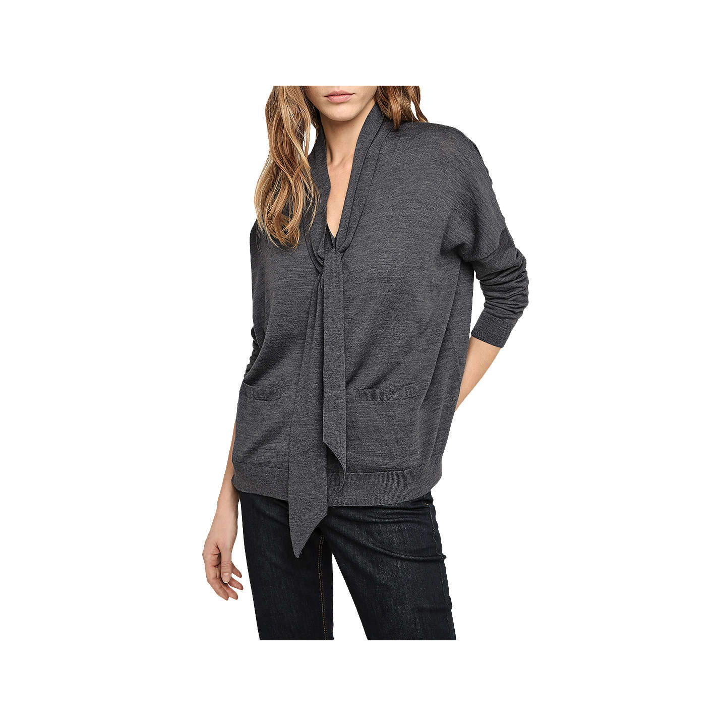 BuyGerard Darel Tie Neck Cardigan, Dark Grey, 8-10 Online at johnlewis.com