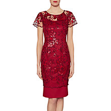 Buy Gina Bacconi Annabelle Embroidered Sequin Dress, Wine Online at johnlewis.com