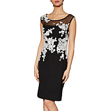 Buy Gina Bacconi Olivia Contrast Embroidery Dress, Black/White Online at johnlewis.com