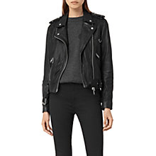 Buy AllSaints Gidley Leather Biker Jacket, Black Online at johnlewis.com
