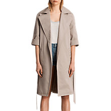 Buy AllSaints Luna Stitch Twill Mac, Putty Grey Online at johnlewis.com