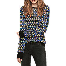 Buy Gerard Darel Checked Round Neck Pullover Jumper, Blue/Multi Online at johnlewis.com