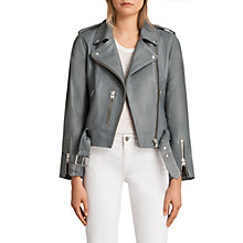 Buy AllSaints Balfern Biker Jacket, Slate Blue Online at johnlewis.com