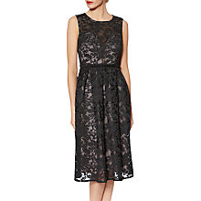 Buy Gina Bacconi Emily Embroidered Mesh Dress, Black/Pink Online at johnlewis.com