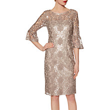 Buy Gina Bacconi Candace Sequin Embroidered Crepe Dress, Taupe Online at johnlewis.com