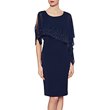 Buy Gina Bacconi Gabriella Beaded Cape Dress, Spring Navy Online at johnlewis.com