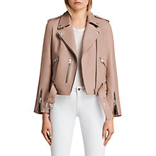 Buy AllSaints Balfern Biker Jacket, Blush Pink Online at johnlewis.com