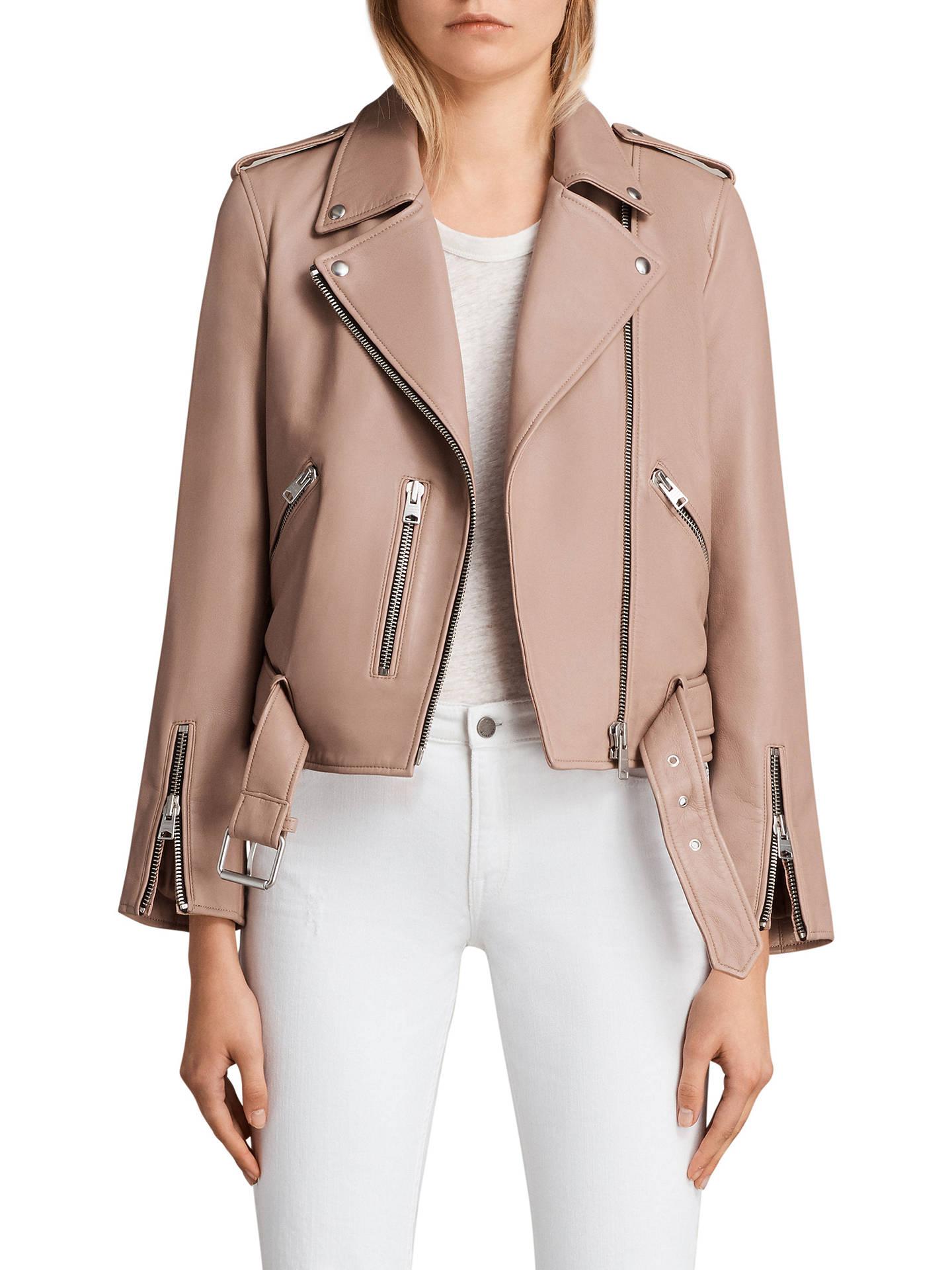 5597c5f657db1 Buy AllSaints Balfern Biker Jacket, Blush Pink, 6 Online at johnlewis.com  ...