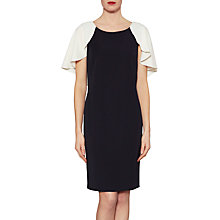 Buy Gina Bacconi Chantelle Contrast Cape Crepe Dress, Black/Chalk Online at johnlewis.com