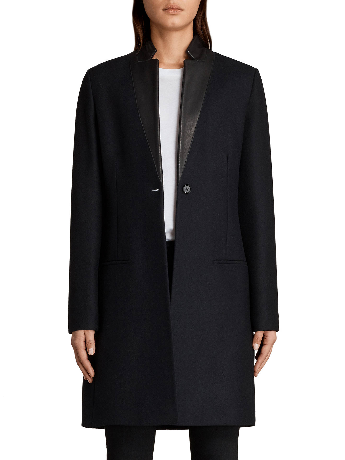 AllSaints Leni Long Sleeve Tailored Coat, Ink Blue at John