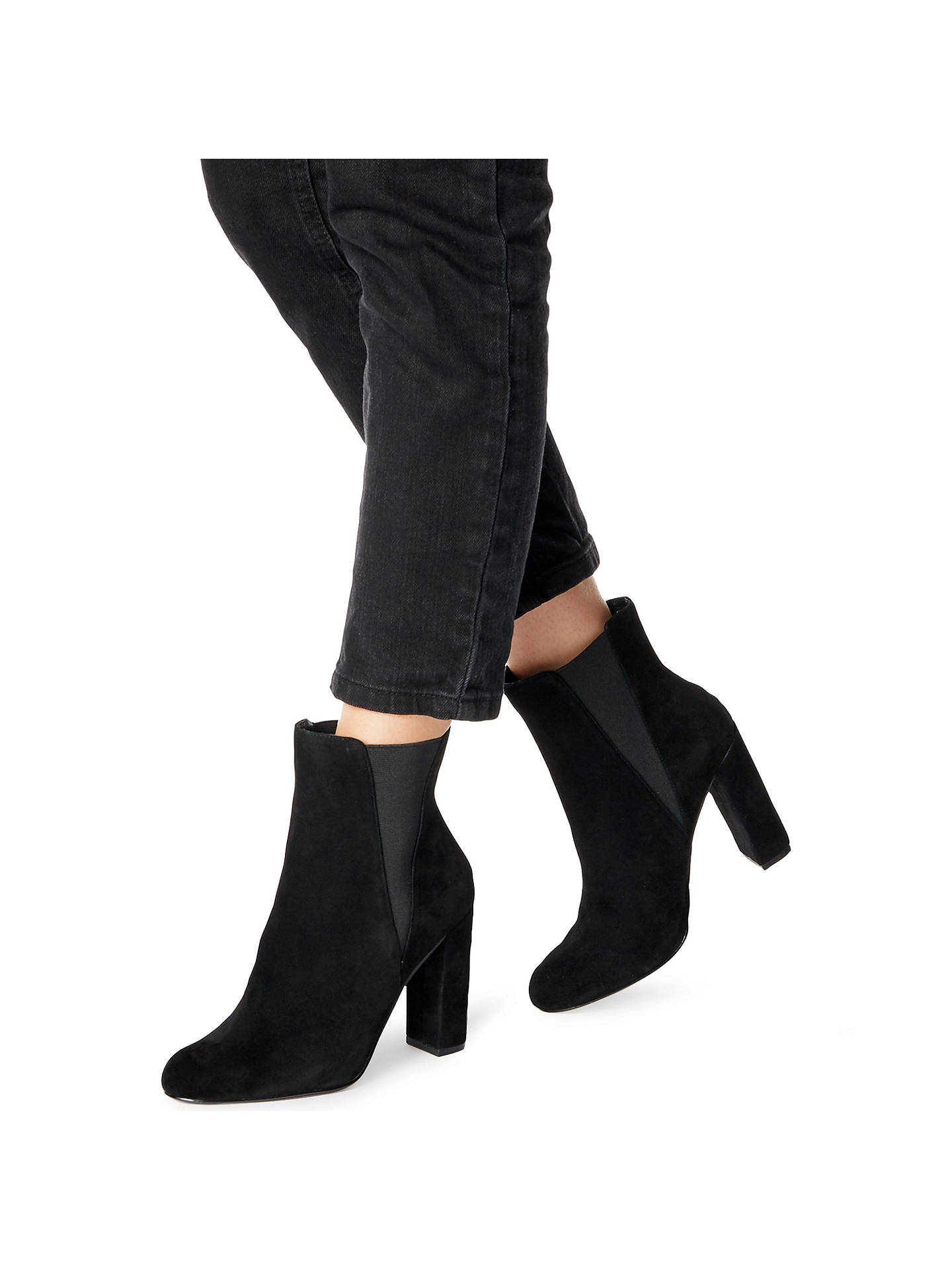 Respeto a ti mismo gloria a lo largo  Steve Madden Effect Block Heeled Ankle Boots, Black Suede at John Lewis &  Partners