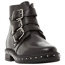 Buy Steve Madden Matika Buckle Biker Boots, Black Online at johnlewis.com