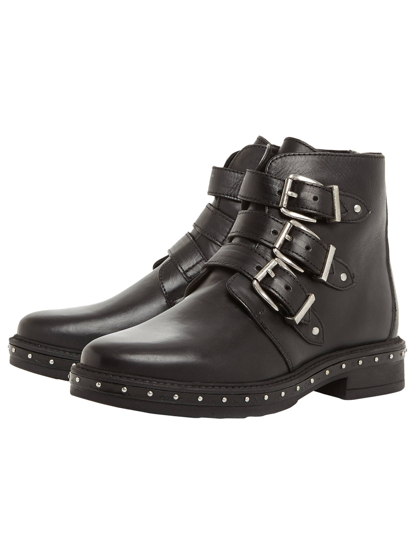Buy Steve Madden Matika Buckle Biker Boots, Black, 3 Online at johnlewis.com