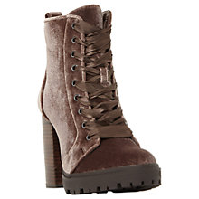 Buy Steve Madden Laurie Lace Up Block Heeled Ankle Boots, Taupe Velvet Online at johnlewis.com