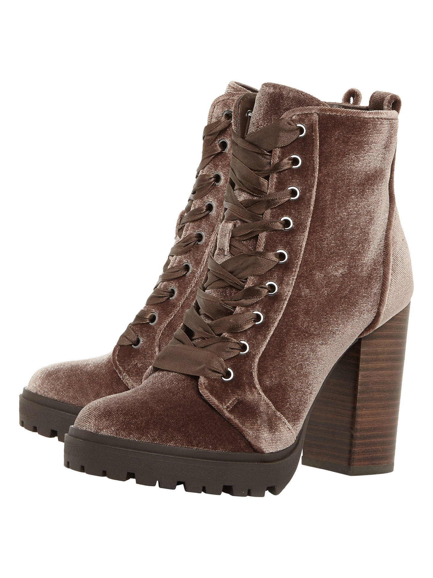 13c2d72a1fd Steve Madden Laurie Lace Up Block Heeled Ankle Boots, Taupe Velvet ...