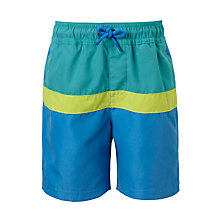 Buy John Lewis Boys' Panel Swimming Shorts, Green/Blue Online at johnlewis.com