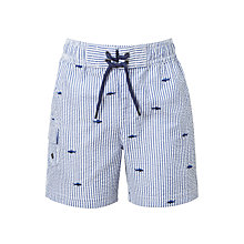 Buy John Lewis Boys' Shark Seersucker Swimming Shorts, Blue Online at johnlewis.com