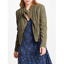 Buy AND/OR Leather Biker Jacket, Olive Online at johnlewis.com