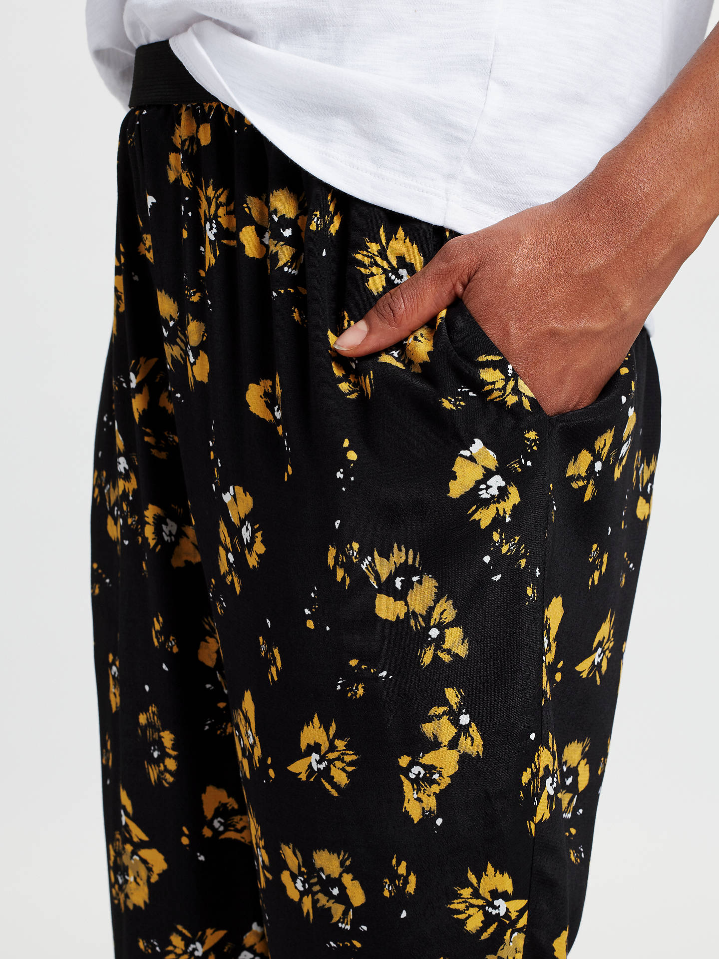 BuyCollection WEEKEND by John Lewis Artist Brush Stroke Floral Print Trousers, Black/Yellow, 8 Online at johnlewis.com