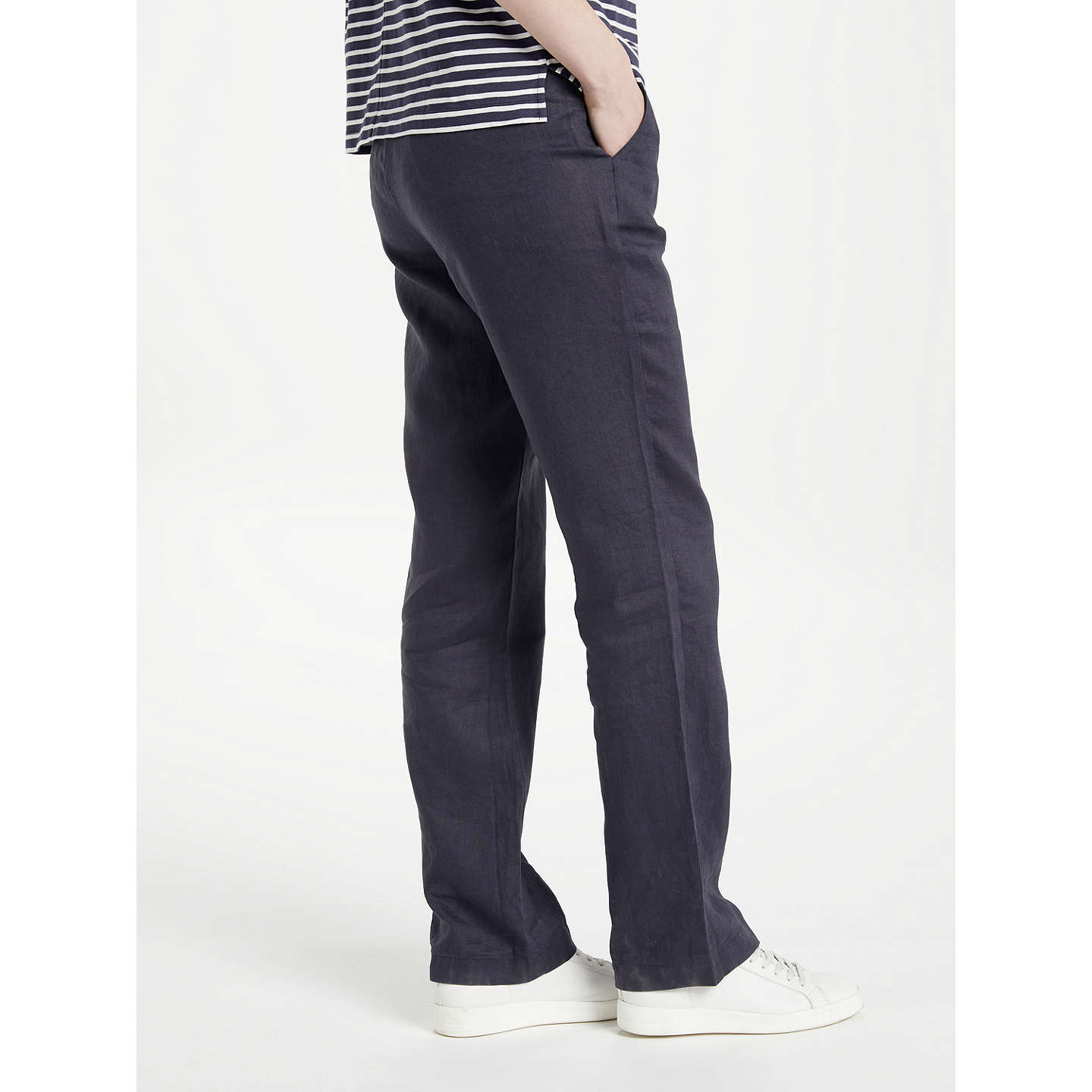 BuyJohn Lewis Straight Leg Linen Trousers, Navy, 8 Online at johnlewis.com