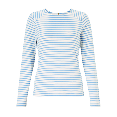 Product photo of Collection weekend by john lewis breton assorted stripe zip back top white pale blue