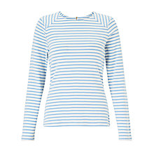 Buy Collection WEEKEND by John Lewis Breton Assorted Stripe Zip Back Top,White/Pale Blue Online at johnlewis.com
