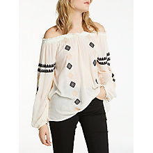 Buy AND/OR Ana Embroidered Blouse, Ivory/Black Online at johnlewis.com