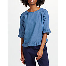 Buy Collection WEEKEND by John Lewis Frill Trim Top, Light Denim Online at johnlewis.com