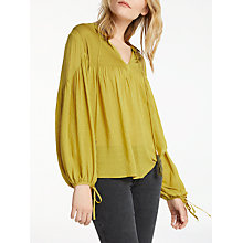 Buy AND/OR Pintuck Blouse, Chartreuse Online at johnlewis.com