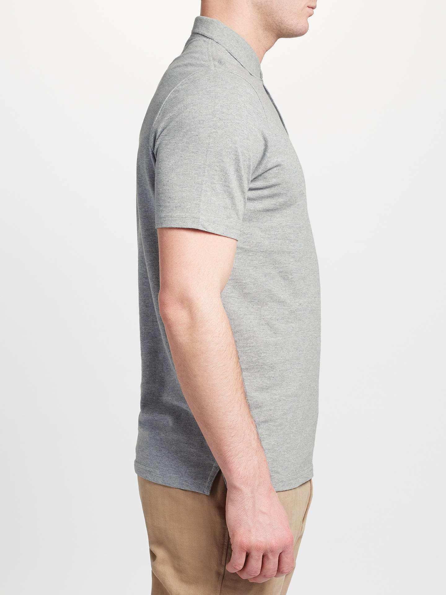 BuyJohn Lewis & Partners Cotton Pique Polo Shirt, Grey, S Online at johnlewis.com