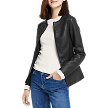 Buy Oasis Faux Leather Collarless Jacket, Black Online at johnlewis.com