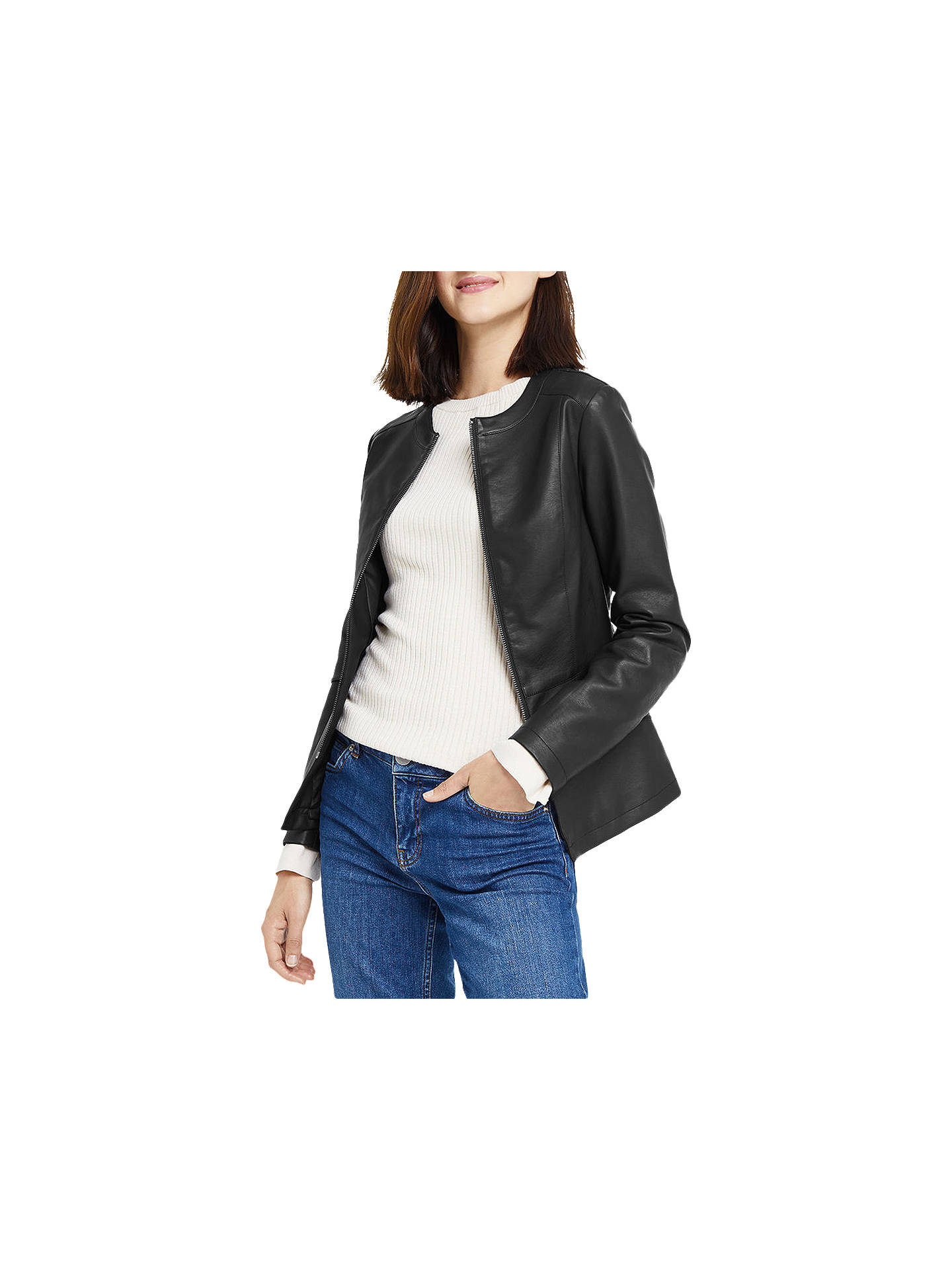 fa395fd7a9cf Buy Oasis Faux Leather Collarless Jacket, Black, XS Online at johnlewis.com  ...