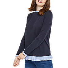 Buy Oasis Stripe Pie Crust Sweater, Navy Online at johnlewis.com