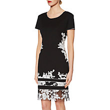 Buy Gina Bacconi Joyce Floral Embroidered Shift Dress, Black/White Online at johnlewis.com