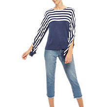 Buy Jaeger Breton Stripe Wide Sleeve Jumper, Navy/Ivory Online at johnlewis.com
