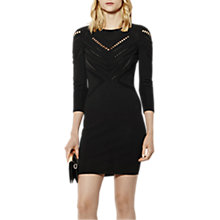 Buy Karen Millen Open Knit Bodycon Dress, Black Online at johnlewis.com