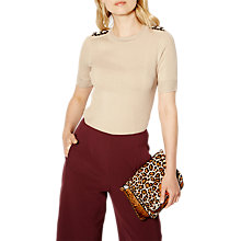 Buy Karen Millen Chain Knitted Top, Stone Online at johnlewis.com