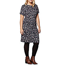 Buy Yumi Curves Peacock Feather Jersey Dress, Navy Online at johnlewis.com