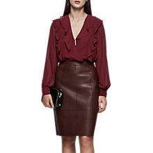 Buy Reiss Goldie Ruffle Shoulder Blouse, Merlot Online at johnlewis.com
