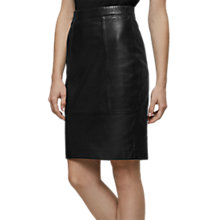 Buy Reiss Kristen Leather Pencil Skirt, Black Online at johnlewis.com