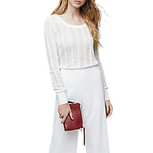 Buy Reiss Flora Lace Scoop Neck Top, Off White Online at johnlewis.com