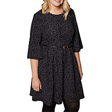 Buy Yumi Curves Polka Dot Pleated Dress, Black Online at johnlewis.com