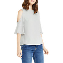 Buy Oasis High Neck Cold Shoulder Top, Pale Grey Online at johnlewis.com