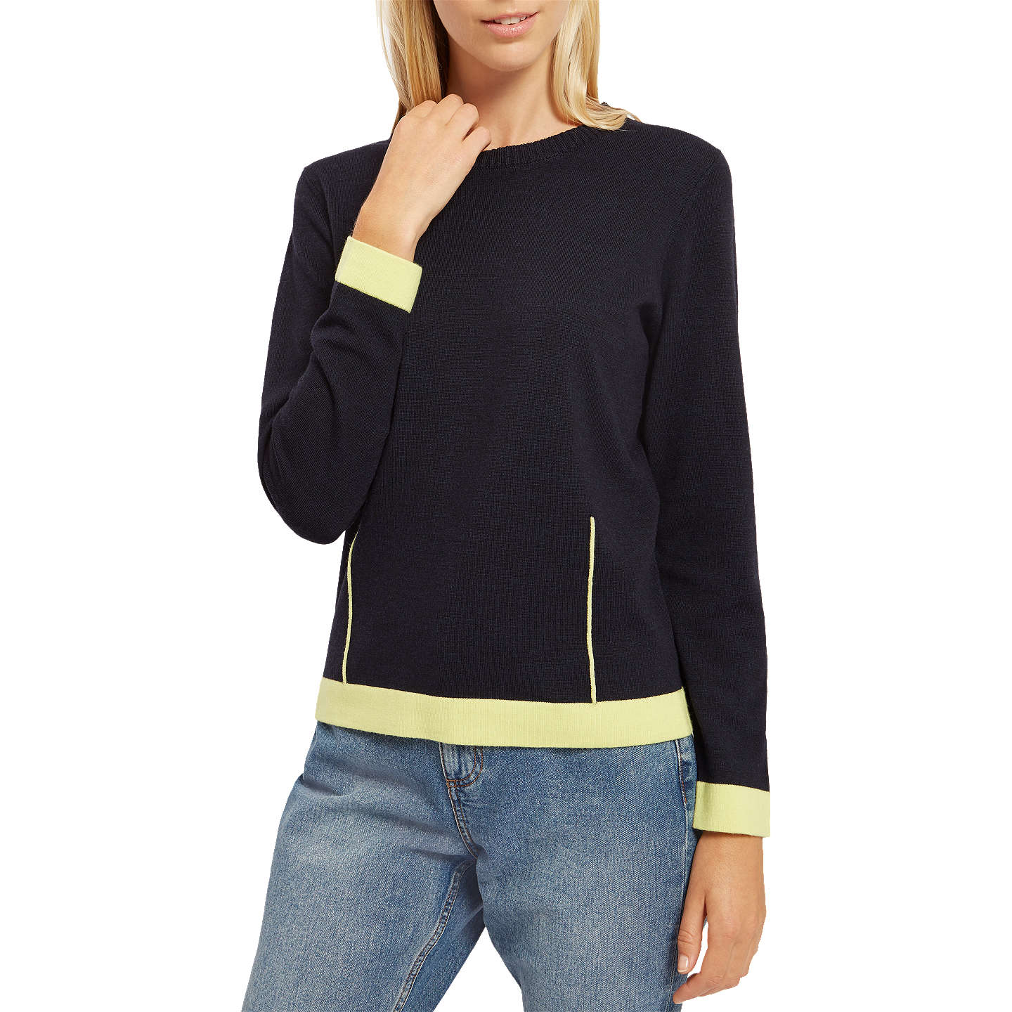 BuyJaeger Mixed Gauge Dart Sweater, Midnight, M Online at johnlewis.com