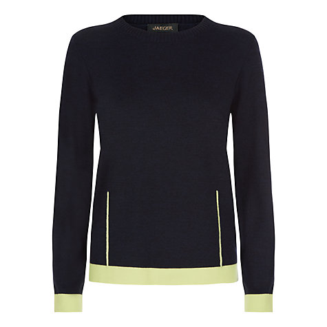 Buy Jaeger Mixed Gauge Dart Sweater, Midnight Online at johnlewis.com