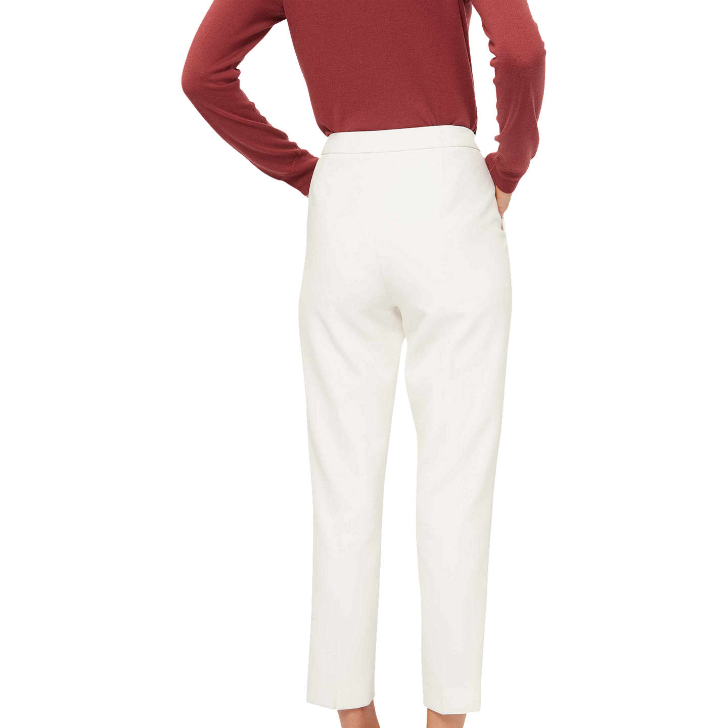 BuyJaeger Cropped Stretch Trousers, Ivory, 6 Online at johnlewis.com