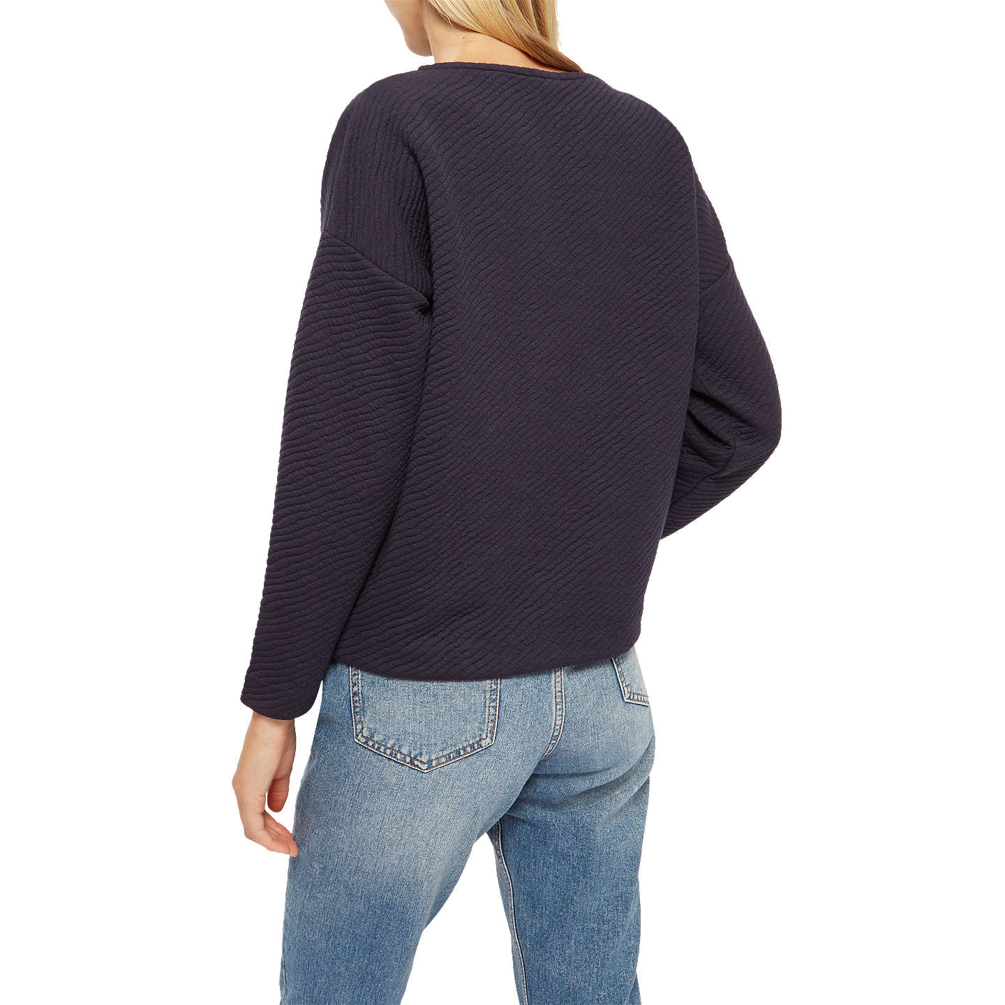 BuyJaeger Padded Jacquard Jumper, Midnight, XS Online at johnlewis.com