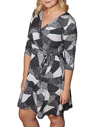 Yumi Curves Mono Pop Wrap Dress, White/Multi