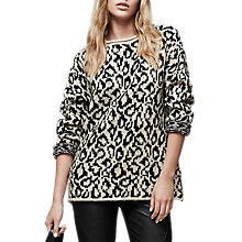 Buy Reiss Animal Print Long Sleeve Jumper, Champagne/Black Online at johnlewis.com